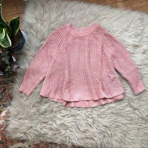 Madewell • Blush Pink Knit Cropped Swing Sweater